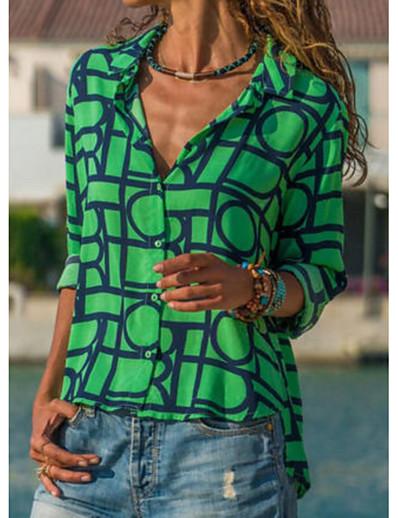 cheap TOPS-Women's Daily Shirt - Geometric Shirt Collar Green