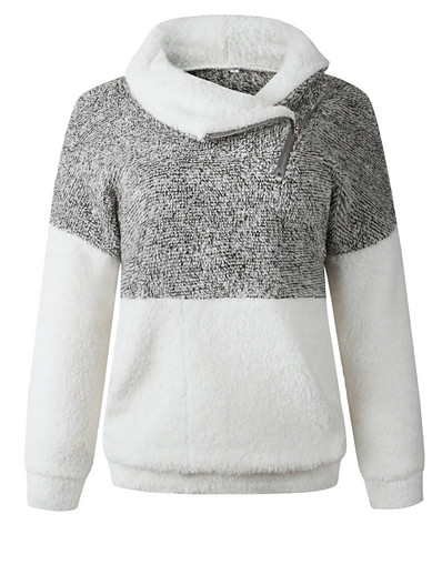 cheap Hoodies & Sweatshirts-Women's Casual Sweatshirt - Color Block Black S
