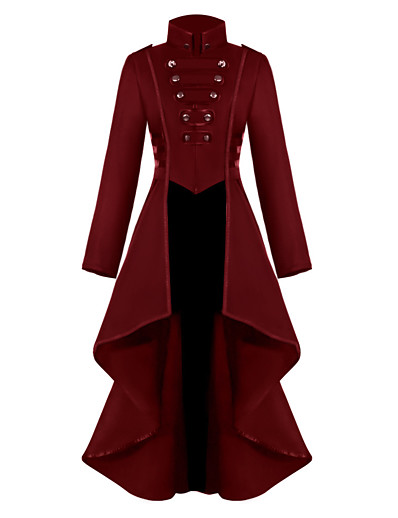 cheap Cosplay & Costumes-Plague Doctor Retro Vintage Punk & Gothic Steampunk 17th Century Coat Masquerade Tuxedo Trench Coat Women's Costume Black / Red / Blue Vintage Cosplay Party Halloween Long Sleeve