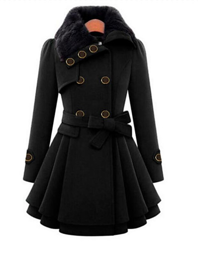 cheap Furs & Leathers-Women's Fall Coat Long Solid Colored Daily Black Red Camel Navy Blue S M L XL / Winter