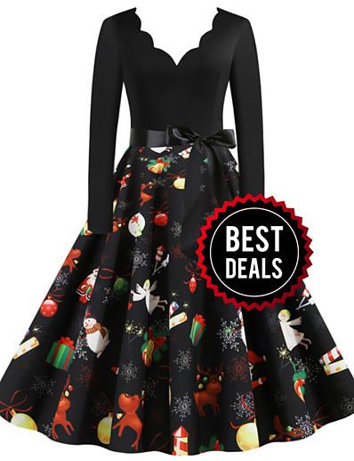 cheap DRESSES-Women's Christmas Party Daily Wear Basic A Line Dress - Color Block V Neck Black S M L XL