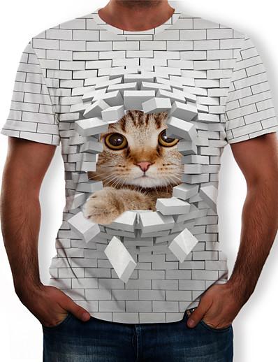abordables Tops-Homme Bloc de Couleur 3D Graphique Grandes Tailles T shirt Imprimé Manches Courtes Quotidien Hauts Chic de Rue Exagéré Col Rond Blanche