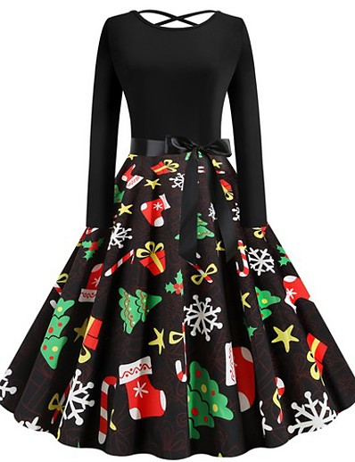 cheap Christmas Dresses-Women's A-Line Dress Short Mini Dress - Long Sleeve Geometric Christmas Black S M L XL XXL
