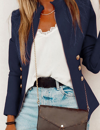 economico Giacche da Donna-Per donna Giubbino Autunno Primavera Estate Quotidiano Standard Cappotto Colletto alla coreana Standard Moderno Giacca Manica lunga Moderno Tinta unita Nero Rosso Blu marino