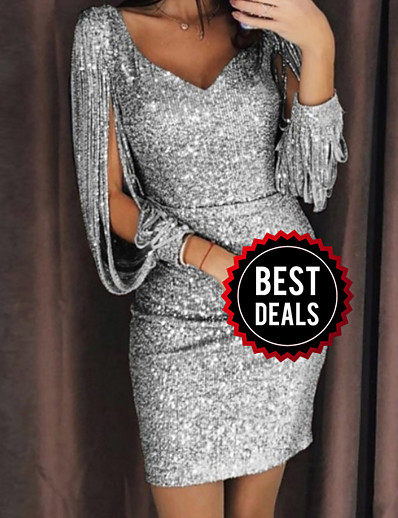 cheap Party Dresses-Women's Cocktail Party Sexy Slim Bodycon Dress Sequins V Neck Black Silver Yellow S M L XL