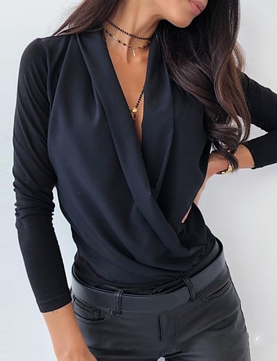 cheap TOPS-Women's Daily Basic Cotton Blouse - Solid Colored V Neck Black