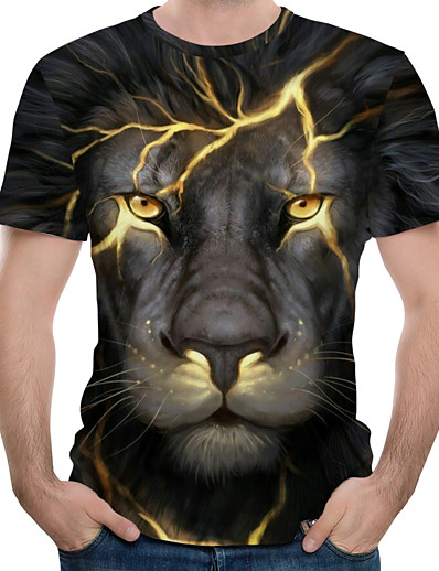 cheap Men's Tops-Men's Tee T shirt 3D Print Graphic Lion Animal Plus Size Print Short Sleeve Causal Tops Streetwear Exaggerated Blue Purple Red / Summer