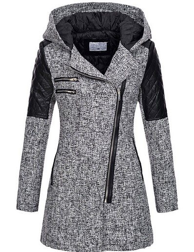 cheap OUTERWEAR-Women's Fall & Winter Trench Coat Long Solid Colored Daily black. Wine Light gray Dark Gray S M L XL