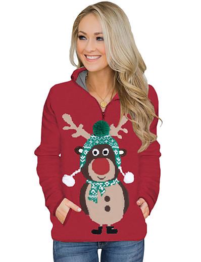 cheap Hoodies & Sweatshirts-Women's Basic / Christmas Loose Sweatshirt - Cartoon Peter Pan Collar Red S