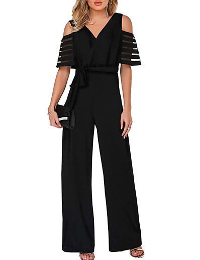 cheap Tops-Women's Black Wine White Jumpsuit, Solid Colored S M L