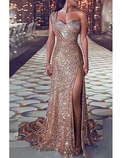 cheap Daily Dresses-Women's Sheath Dress - Solid Colored Maxi Gold S M L XL