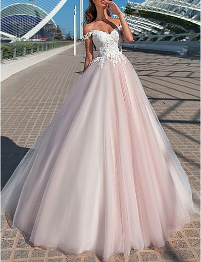 cheap Wedding Dresses-A-Line Off Shoulder Court Train Tulle Short Sleeve Romantic Illusion Detail Wedding Dresses with Appliques 2020