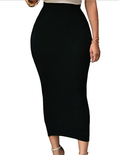 cheap Skirts-Women's Bodycon Skirts - Solid Colored Black Wine White S M L