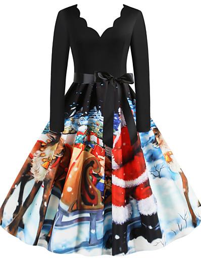 preiswerte Weihnachtskleider-Damen Swing Kleid Knielanges Kleid - Langarm Weihnachtsmann Geometrisch Schneeflocke Patchwork Druck V-Ausschnitt Grundlegend Retro Weihnachten Schwarz S M L XL XXL 3XL