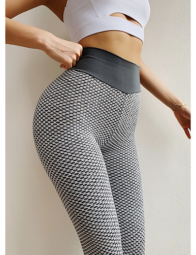 cheap 2021 Trends-Women's High Waist Leggings Tiktok Scrunch Butt Ruched Butt Lifting Yoga Pants Tummy Control White Black Purple Spandex Fitness Gym Workout Running Sports Activewear High Elasticity Skinny / Athletic