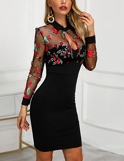 cheap DRESSES-Women's Slim Sheath Dress - Floral Embroidered Shirt Collar Black S M L XL
