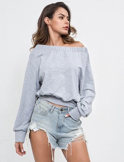cheap Hoodies & Sweatshirts-Women's Casual Sweatshirt - Solid Colored Gray S