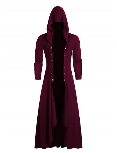 cheap New in-Women's Daily Fall & Winter Long Trench Coat, Solid Colored Hooded Long Sleeve Polyester Black / Fuchsia