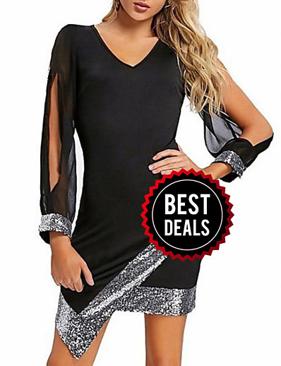cheap DRESSES-Women's Elegant Sheath Dress - Color Block Sequins Black Wine Red S M L XL