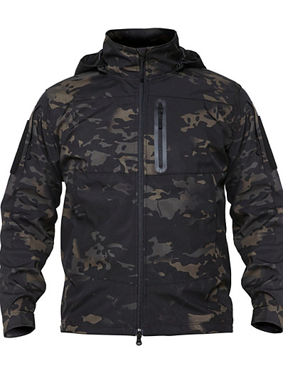 cheap SPORTSWEAR-Men's Hiking Fleece Jacket Outdoor Thermal Warm Waterproof Windproof Wearproof Spring Fall Winter Camo Coat Top Terylene Camping / Hiking Hunting Fishing Camouflage