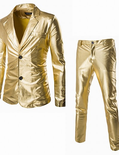 cheap Cosplay & Costumes-Disco 1980s Pants Suits & Blazers Lapel Collar Blazer Men's Shiny Metallic Costume Golden / Silver / Black Vintage Cosplay Long Sleeve Party Halloween Club / Tuxedo / Tuxedo