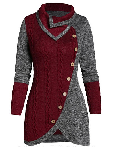 cheap SALE-Women's Color Block Long Sleeve Pullover Sweater Jumper, Turndown Wine / Green XL / XXL / XXXL