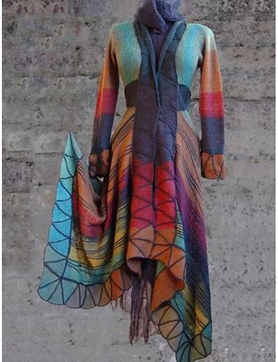 cheap Trench Coats-Women's Daily Regular Coat, Geometric V Neck Long Sleeve Polyester Purple / Orange / Yellow