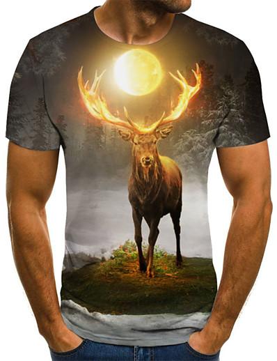cheap Men's 3D-Men's T shirt Color Block 3D Animal Print Short Sleeve Going out Tops Streetwear Punk & Gothic Gray