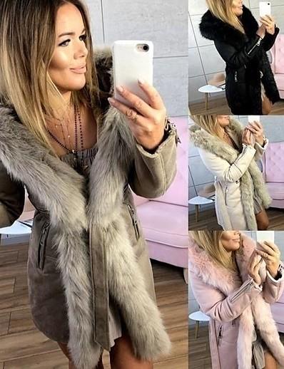 abordables Fourrures & Cuirs Femme-Femme Manteau Longue Couleur Pleine Quotidien basique Beige S M L XL