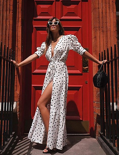cheap Elegant Dresses-Women's Elegant A Line Dress - Polka Dot White S M L XL