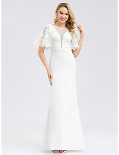 cheap Wedding Dresses-Mermaid / Trumpet Jewel Neck Floor Length Polyester / Spandex / Lace Short Sleeve Simple / Casual Illusion Detail / Elegant Wedding Dresses with Lace Insert 2020
