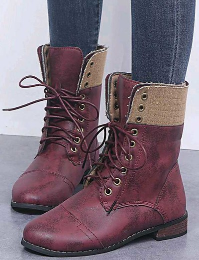 cheap BEST SELLERS-Women's Boots Comfort Shoes Flat Heel Round Toe PU Mid-Calf Boots Winter Brown / Red / Blue