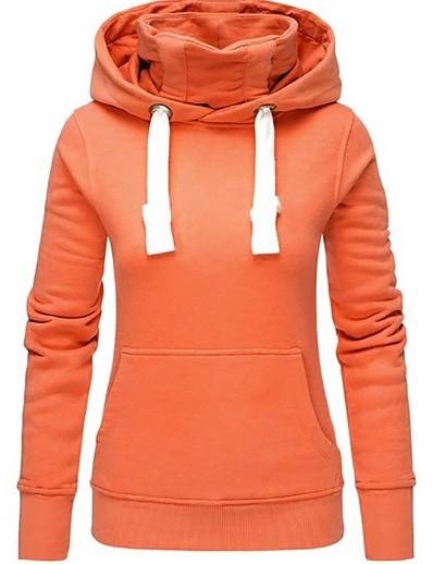 cheap Hoodies & Sweatshirts-Women's Casual Hoodie - Solid Colored Black S