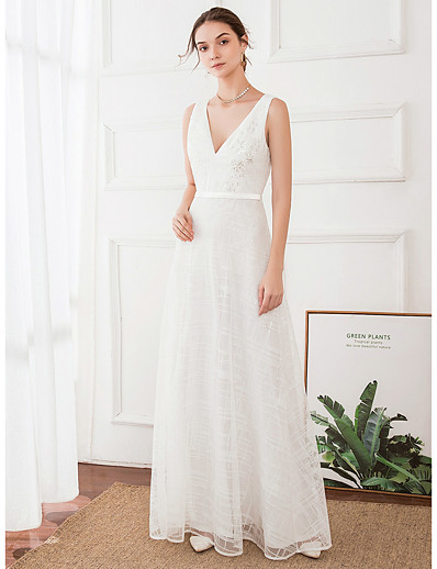 cheap Wedding Dresses-A-Line V Neck Floor Length Polyester / Satin Regular Straps Wedding Dresses with 2020