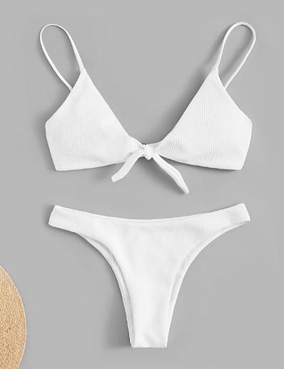 cheap SALE-Women's Basic Black White Purple Bandeau Cheeky High Waist Bikini Swimwear Swimsuit - Solid Colored Lace up Print S M L Black