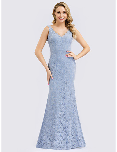 cheap Bridesmaid Dresses-Mermaid / Trumpet V Neck Floor Length Lace Bridesmaid Dress with Lace