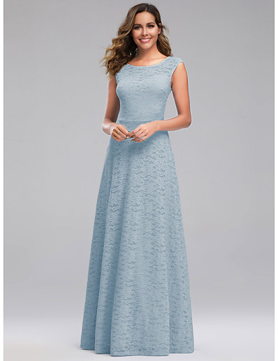 cheap WEDDING-A-Line Jewel Neck Floor Length Polyester / Spandex / Lace Bridesmaid Dress with Lace