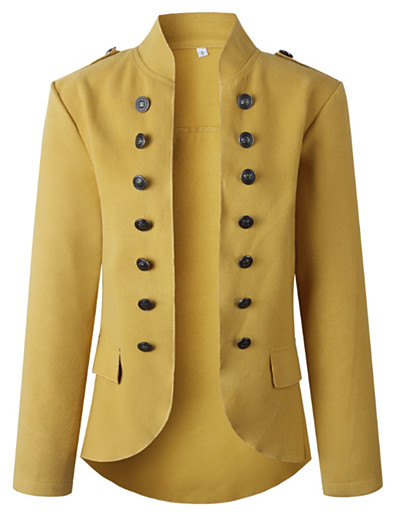 cheap Jackets-Women's Daily Winter Long Coat, Solid Colored V Neck Long Sleeve Polyester Army Green / Yellow / Red