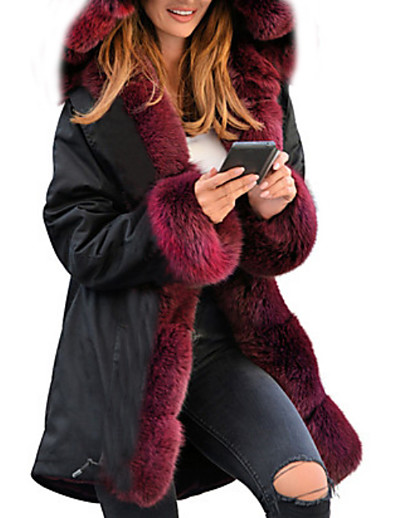 cheap Down& Parkas-Women's Solid Colored Padded, POLY Black / Wine / Camel S / M / L / Loose