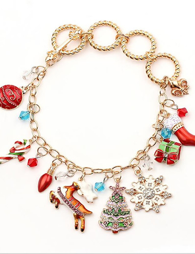 cheap Christmas Accessories-Dainty Charm Cute Alloy Bracelet Jewelry Red / Yellow For Christmas