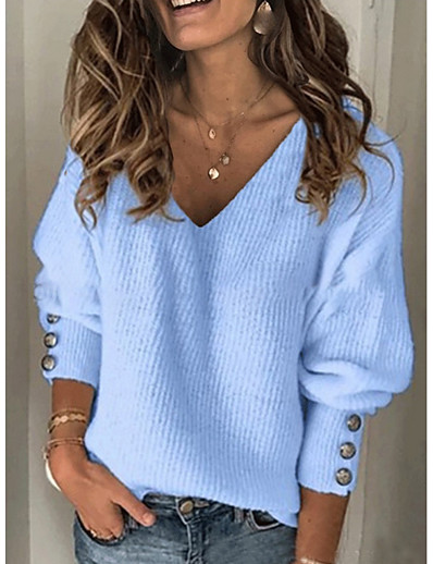 cheap CLOTHING-Women's Solid Colored Long Sleeve Pullover Sweater Jumper, V Neck Red / Blue / Gray S / M / L