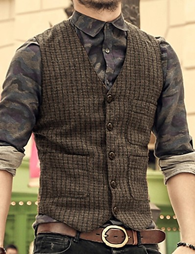 cheap Men's Outerwear-Men's Vest, Solid Colored V Neck Polyester Brown