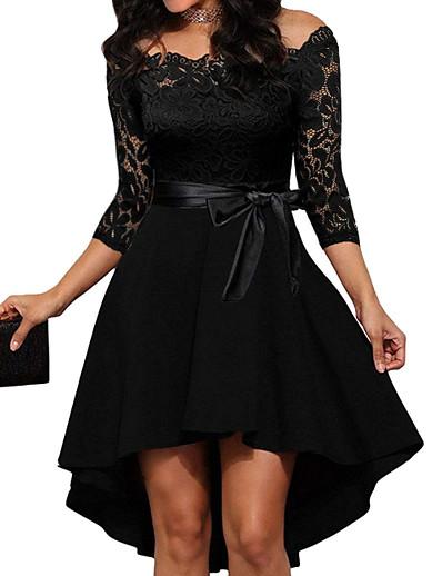 cheap Party Dresses-Women's Elegant Asymmetrical A Line Dress - Solid Colored Lace Off Shoulder Black Red S M L XL