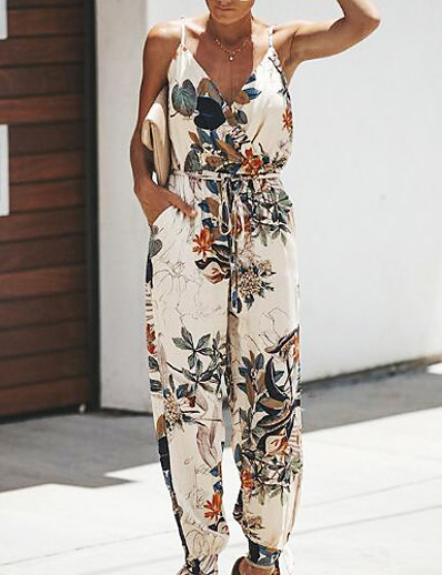 cheap JUMPSUITS & ROMPERS-Women's Vacation Deep V Black Wine Beige Jumpsuit Floral Print Cotton
