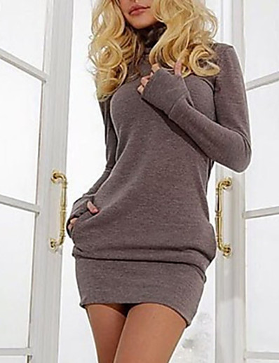 cheap Sweater Dresses-Women's Sweater Jumper Dress Short Mini Dress Purple Brown Long Sleeve Solid Colored Fall Winter Turtleneck Basic Hot S M L XL