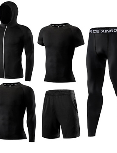 cheap Running, Jogging & Walking-Men's Activewear Set Workout Outfits Compression Suit Athletic Athleisure 5pcs Elastane Quick Dry Breathable Soft Fitness Gym Workout Basketball Active Training Sportswear Solid Color Normal Hoodie