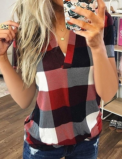 cheap TOPS-Women's Plaid Shirt Daily V Neck Blue / Purple / Red / Yellow / Orange / Green / Gray / Light Blue