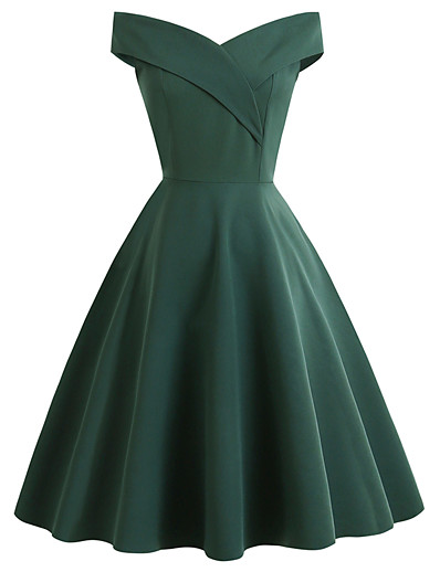 cheap Cosplay & Costumes-Audrey Hepburn Dresses 1950s Vintage Inspired Vacation Dress Prom Dresses Dress A-Line Dress Tea Dress Rockabilly Women's Spandex Costume Red / Black / Green Vintage Cosplay Homecoming Wedding Party