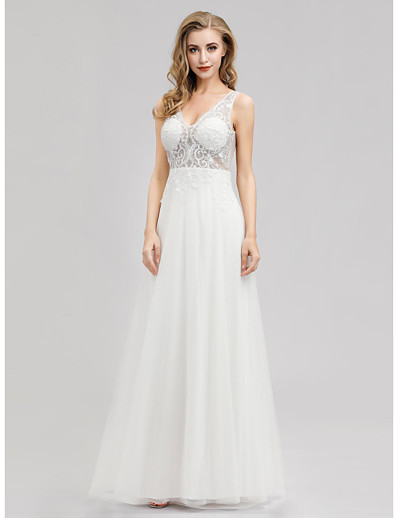 cheap Wedding Dresses-A-Line V Neck Floor Length Tulle Regular Straps See-Through Wedding Dresses with 2020