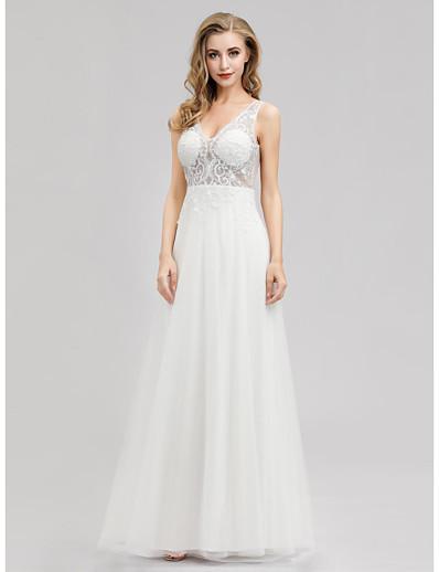 cheap Wedding Dresses-A-Line V Neck Floor Length Tulle Regular Straps See-Through Wedding Dresses with 2020